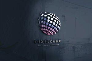 Pixel Cube Polygon Logo