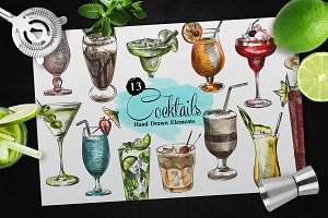 Hand Drawn Cocktails Set