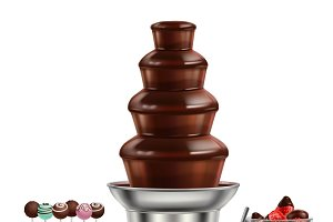 Colored chocolate fountain