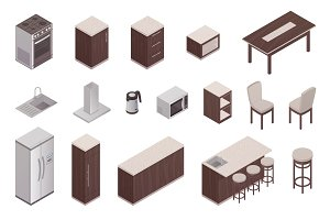 Isometric icons of kitchen interior