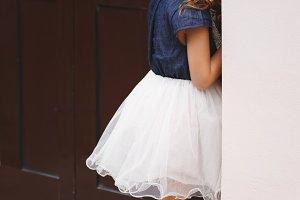 little cute shy girl on the street