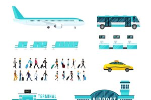 People transport airport icons set