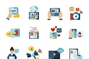 Social media web blogger icons