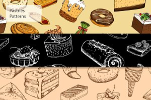 Seamless pastries patterns