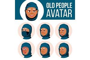 Arab, Muslim Old Woman Avatar Set