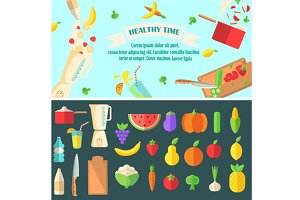 Healthy time banner with icons