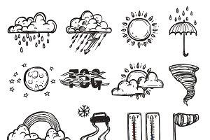 Doodle weather set