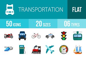 50 Transport Flat Icons