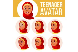 Arab, Muslim Teen Girl Avatar Set