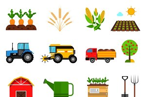 Agriculture flat icons set