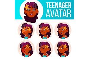Teen Girl Avatar Set Vector. Indian