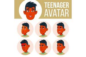 Teen Boy Avatar Set Vector. Indian