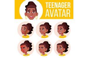 Teen Girl Avatar Set Vector. Black