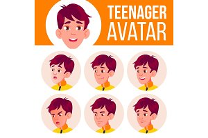 Teen Boy Avatar Set Vector. Face