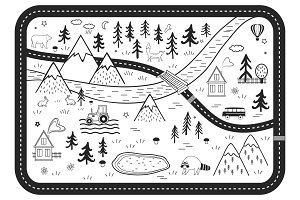 Black and White Kids Road Play Mat