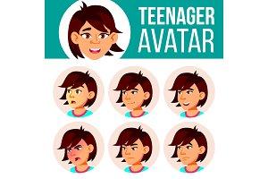 Asian Teen Girl Avatar Set Vector