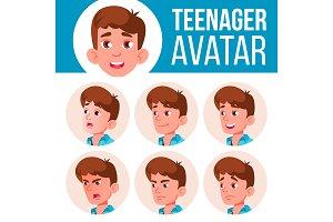 Teen Boy Avatar Set Vector. Face