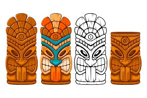 Tiki tribal mask set