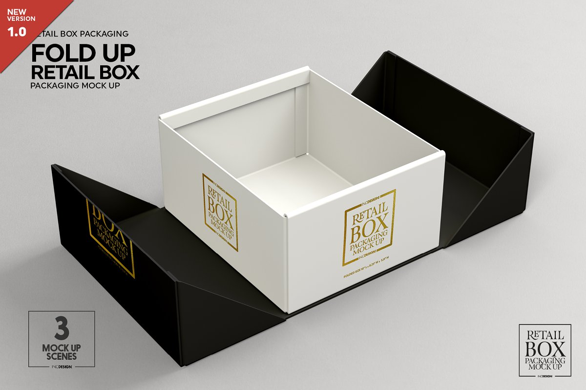 Fold Up Retail Box Packaging Mockup Creative Branding Mockups