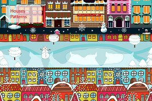 Seamless Winter Houses Patterns