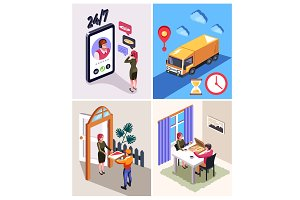 Online food delivery process concept
