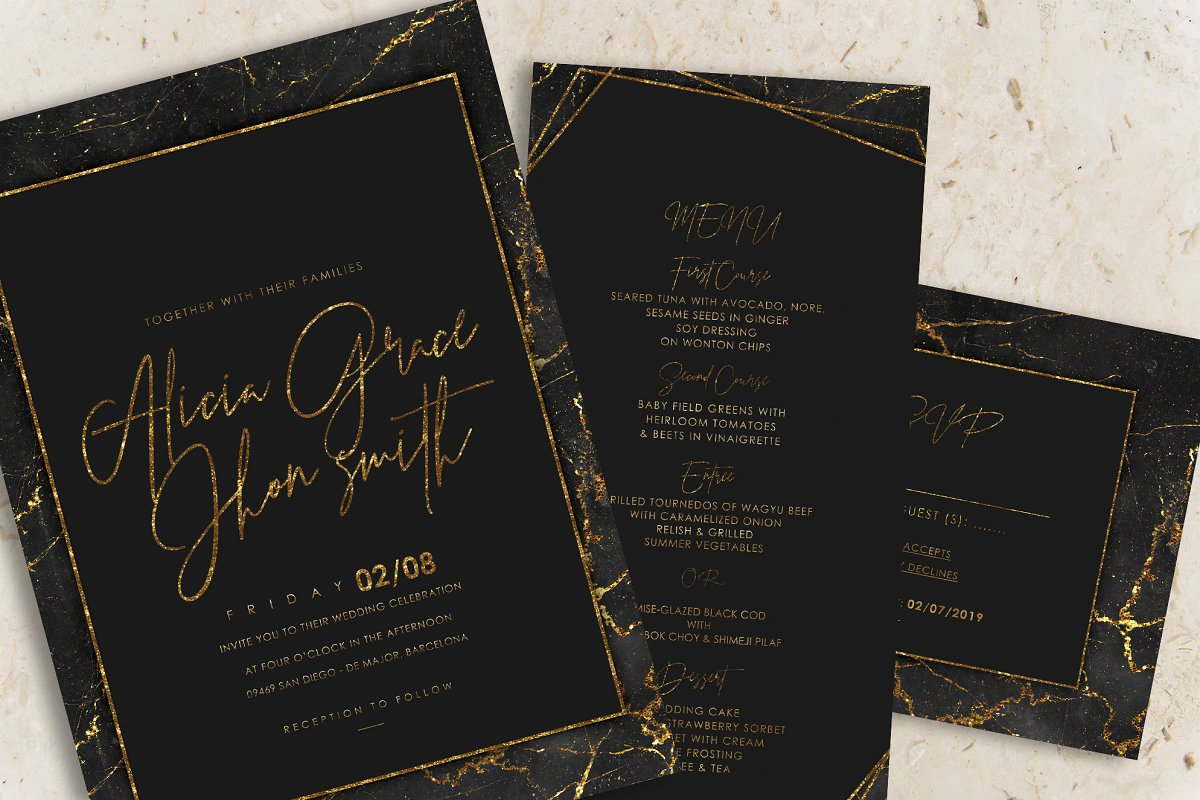 Gold Black Marble Wedding Invitation | Creative Wedding Templates ...