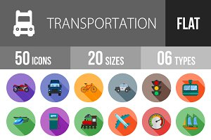 50 Transport Flat Shadowed Icons