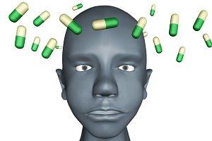 3d illustration of human head in dep