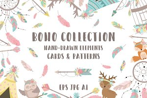 Boho hand-drawn vector collection