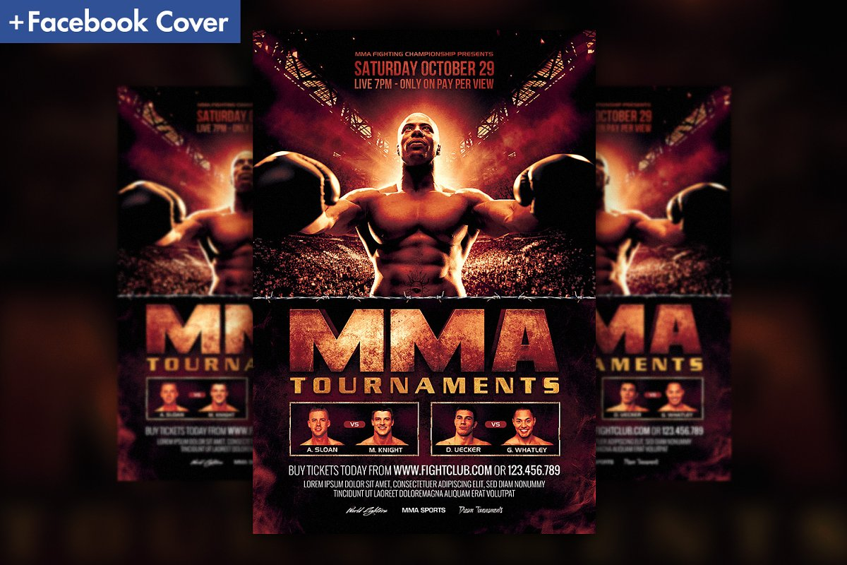 Mma Boxing Fight Flyer Template Flyer Templates Creative Market