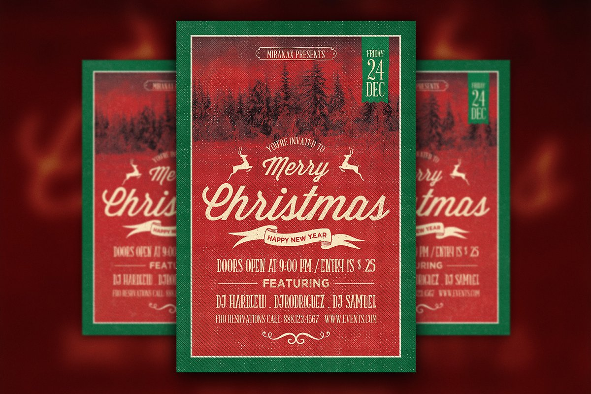Christmas Party Flyer Template.Merry Christmas Party Flyer Template