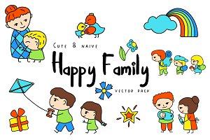 Happy Family Clipart + Patterns