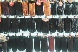 stall with fashionable leather woman