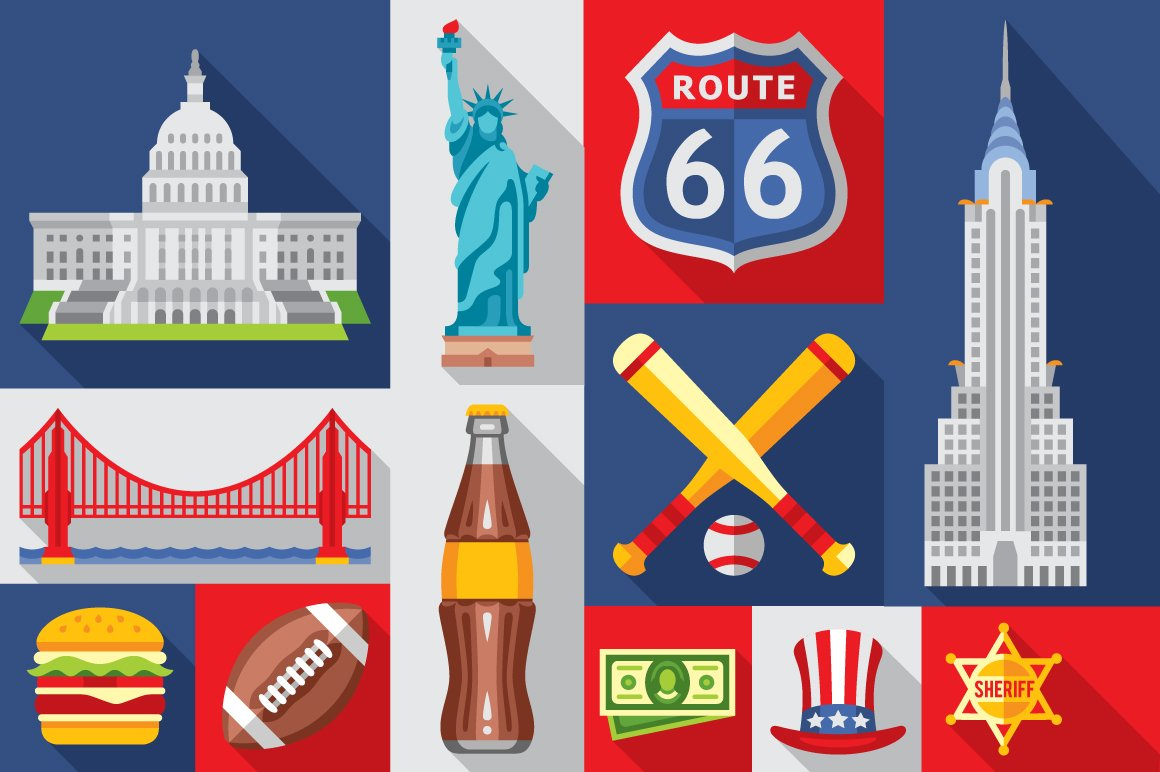 America Flat Icon Usa Symbols Web Elements Creative Market