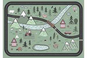 Cute Road Nordic Play Mat