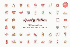 Lovely Cuties 120 Illustrated Icons