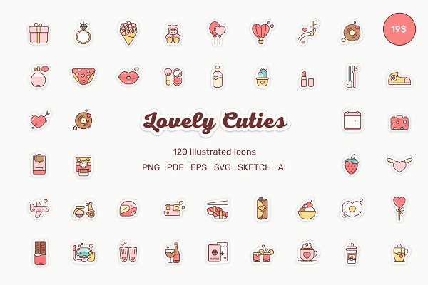 Icons: Losha - Lovely Cuties 120 Illustrated Icons
