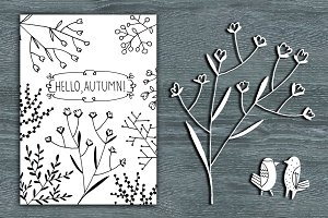 Hello Autumn line art card&clipart