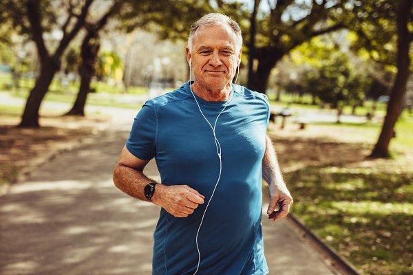 Senior man enjoying his workout