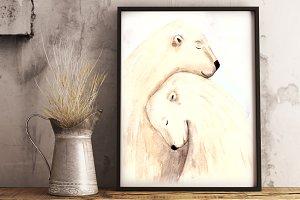 Love & Bears Watercolor Illustration