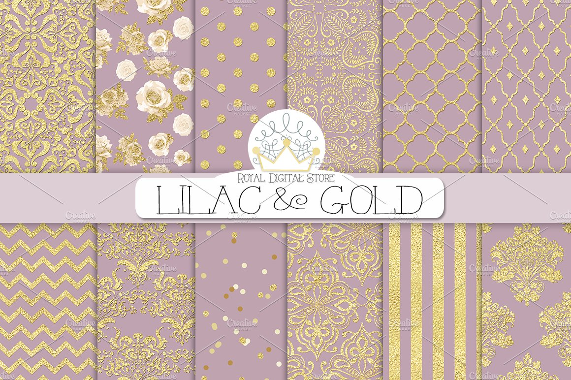 LILAC GOLD Digital Paper Patterns Creative Market
