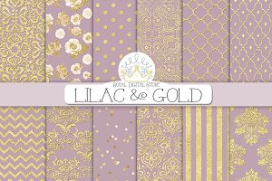 LILAC & GOLD digital paper