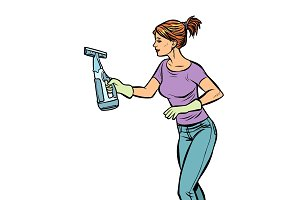 washing cleaning sprayer, woman