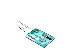 Bank card flies, isolate on white