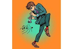 man playing folk wind instrument