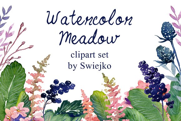 Watercolor floral set