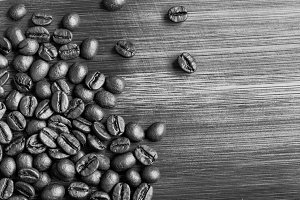 Coffee beans (black and white)