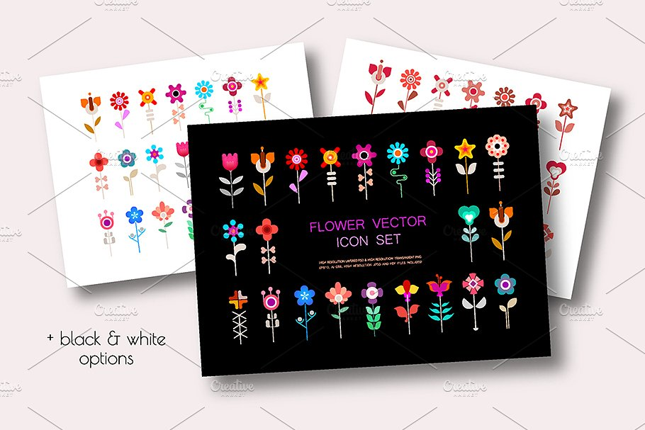 4 Flower Vector Icon Sets