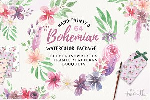 Bohemian Flower Watercolor Package