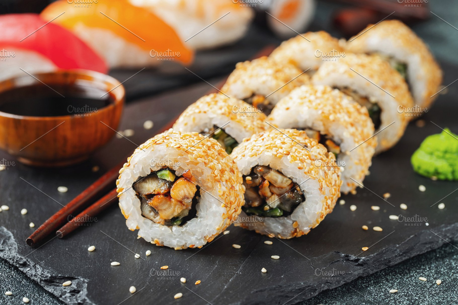 Sushi Roll With Smoked Eel Cucumber